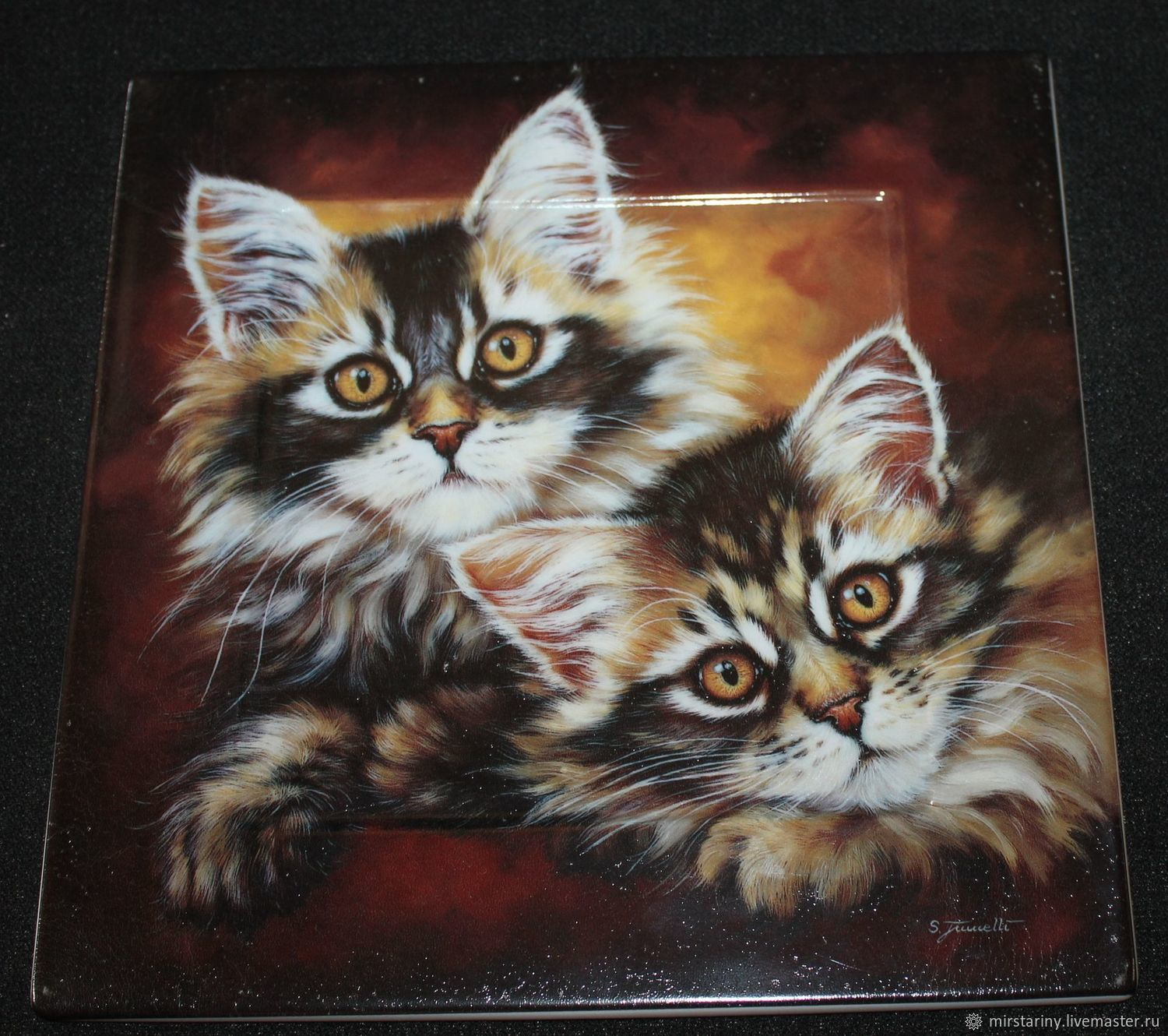Beautiful wall panel 'Kittens', porcelain, Bavaria, Germany, Vintage interior, Moscow,  Фото №1
