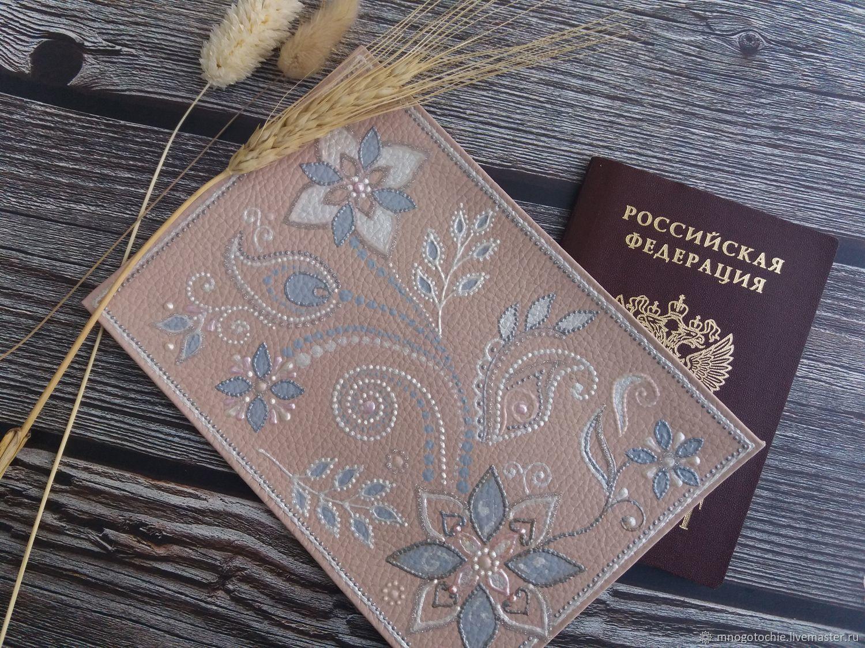 Кожаная обложка на паспорт с росписью, Обложки, Москва,  Фото №1