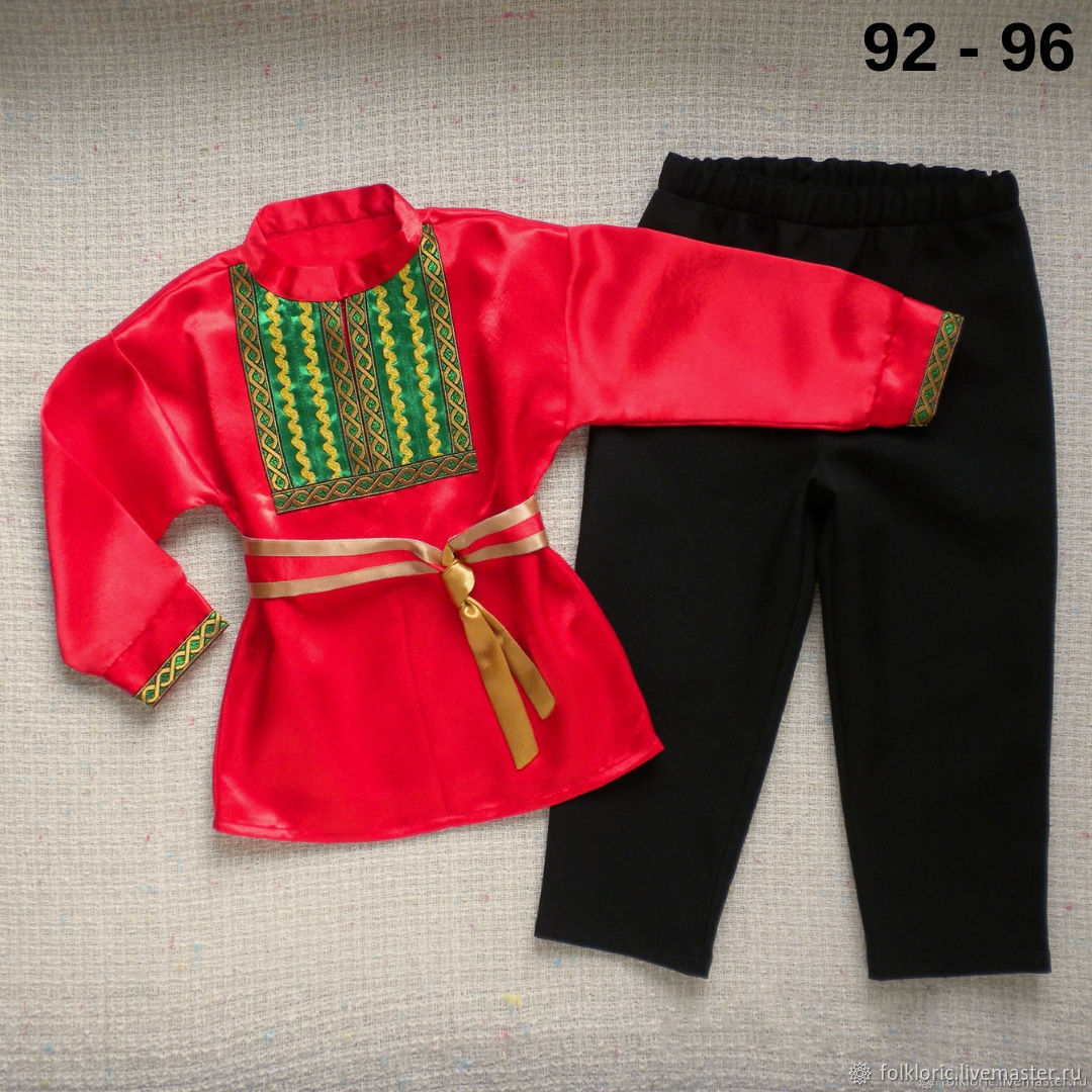 Russian folk costume for boy men's shirt belt, Carnival costumes for children, Kaliningrad,  Фото №1
