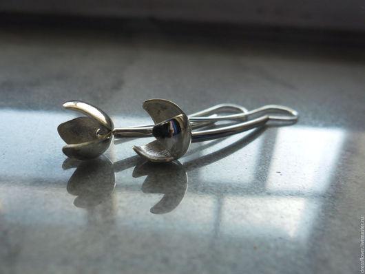 Серебряные серьги ручной работы, авторское серебро.