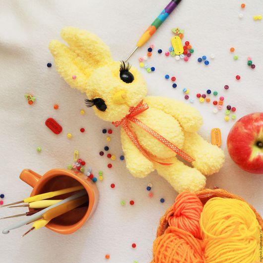 Игрушки животные, ручной работы. Ярмарка Мастеров - ручная работа. Купить Зайчик Лучик (вязаная крючком игрушка, рост 27 см). Handmade.
