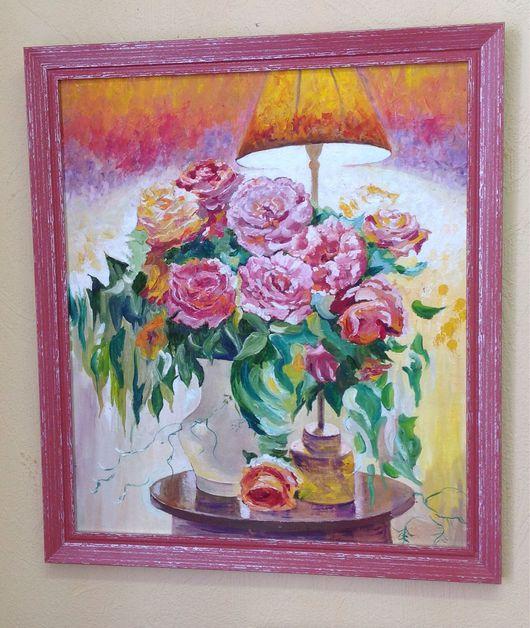 Картины цветов ручной работы. Ярмарка Мастеров - ручная работа. Купить Картина в раме Розы  натюрморт 35на40см теплый, желтый, оранжевый,. Handmade.
