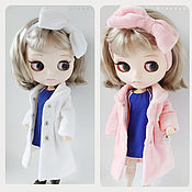 Куклы и игрушки handmade. Livemaster - original item Blythe fur coat-bow coat on the head in blue pink and white colors. Handmade.