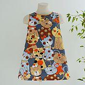 Платье ручной работы. Ярмарка Мастеров - ручная работа Детское платье с серьезными кошками. Handmade.