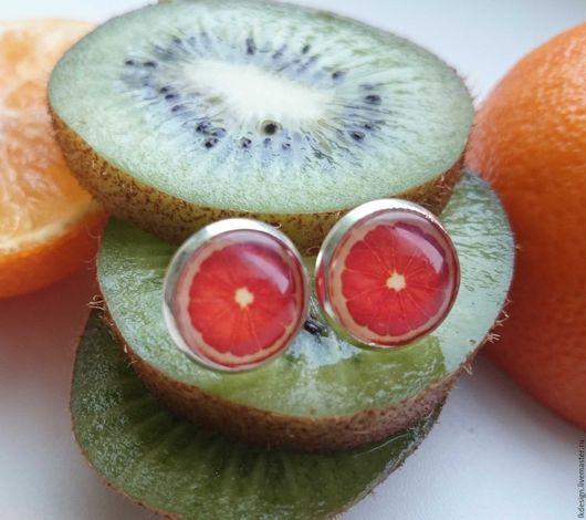 """Серьги ручной работы. Ярмарка Мастеров - ручная работа. Купить Серьги """"Грейпфрут"""". Handmade. Рыжий, грейпфрут, стекло, серьги, яркий"""