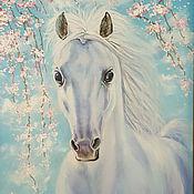 Картины и панно handmade. Livemaster - original item Sold. Cherry blossoms. (White horse) oil Painting.. Handmade.
