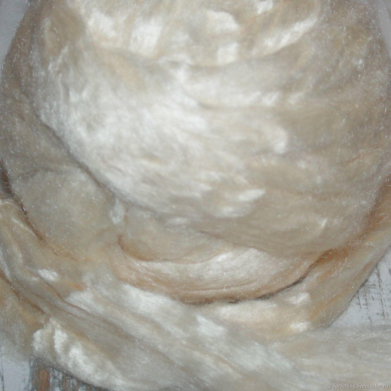 РЕЗЕРВ!Шелк для валяния Тусса Tussah Белый 10 гр. Италия DHG, Волокна, Смоленск,  Фото №1