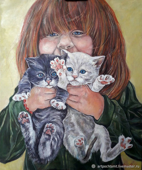 Red girl with kittens. Oil on canvas. 60h50 cm, Pictures, Murmansk,  Фото №1