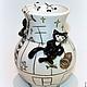 """Вазы ручной работы. Ярмарка Мастеров - ручная работа. Купить Ваза фарфоровая """"Черные Коты на крыше."""". Handmade. мышь"""