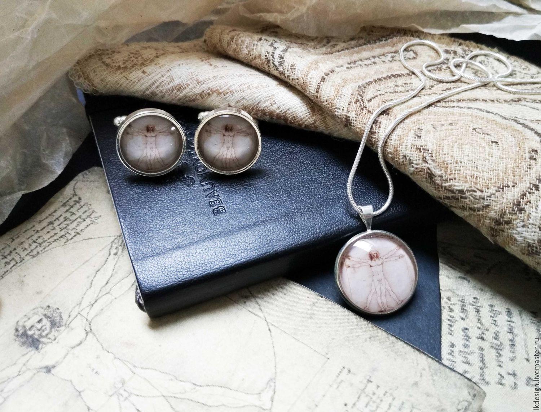 Jewelry Sets handmade. Livemaster - handmade. Buy kit for two vitruvian man.Artist, cufflinks, for him