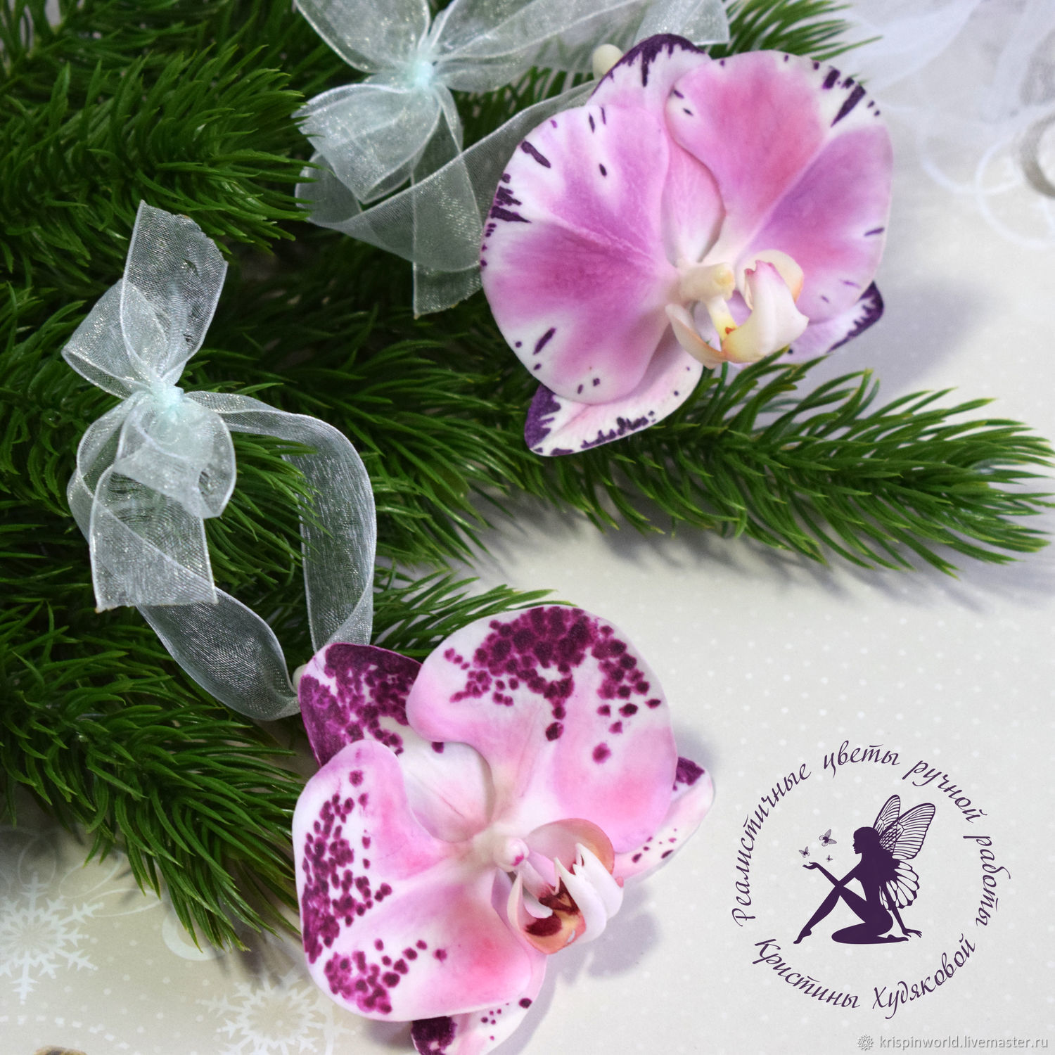 Christmas decoration Orchid flower Phalaenopsis polymer clay – shop