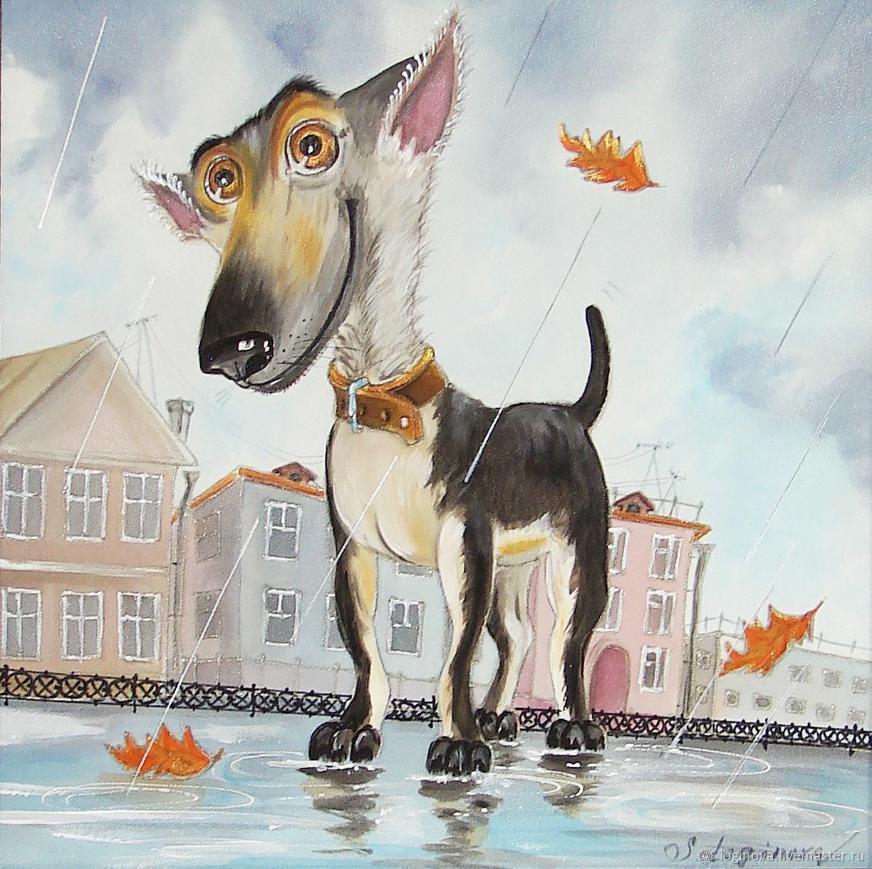 Картина с собакой, картина в детскую, картина в подарок ребенку, Картины, Находка,  Фото №1