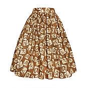 Одежда ручной работы. Ярмарка Мастеров - ручная работа Юбка Horse (коричневая) с карманами. Handmade.
