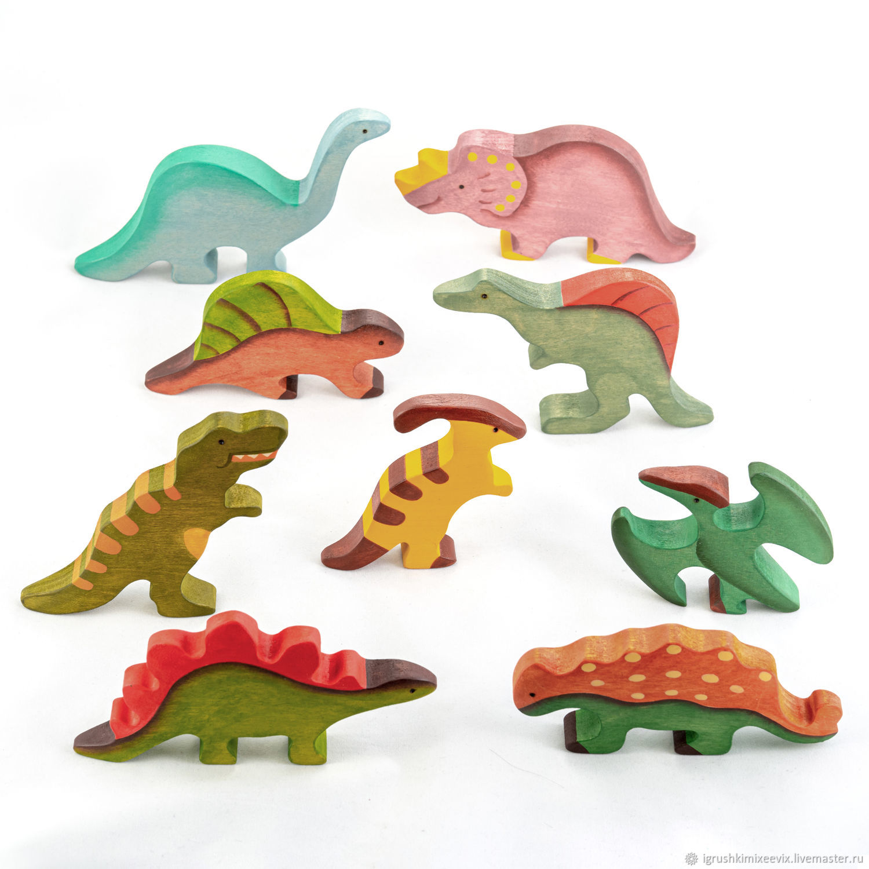 Динозавры 9 фигурок окрашенные. Деревянные игрушки, Вальдорфские куклы и звери, Смоленск,  Фото №1