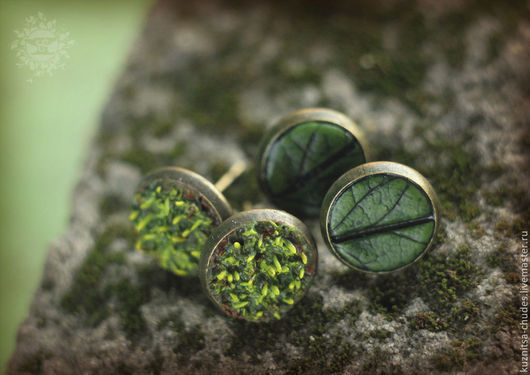 Серьги ручной работы. Ярмарка Мастеров - ручная работа. Купить Серьги-гвоздики Leaves & moss. Handmade. Зеленый, листья