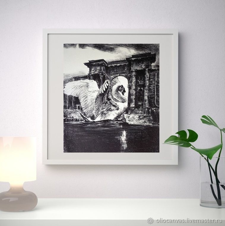 Black and white painting 'Moon over new Holland' 44,5h38, cm, Pictures, St. Petersburg,  Фото №1