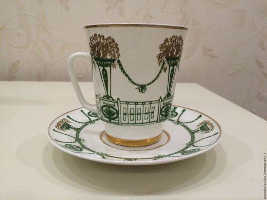 """Винтажная посуда. Ярмарка Мастеров - ручная работа. Купить Кофейная пара """"Гирлянды"""", ЛФЗ, костяной фарфор. Handmade. Комбинированный"""