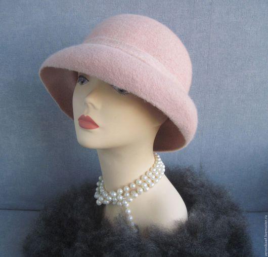 "Шляпы ручной работы. Ярмарка Мастеров - ручная работа. Купить Шляпа валяная """"Champagne pink"". Handmade. Бледно-розовый"