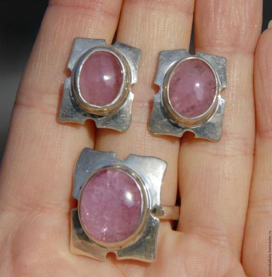 Кольца ручной работы. Ярмарка Мастеров - ручная работа. Купить Гарнитур с турмалином (Н23). Handmade. Розовый, кольцо с камнем