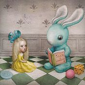 """Картины и панно ручной работы. Ярмарка Мастеров - ручная работа Картина маслом """"Алиса"""" 40/40см. Handmade."""