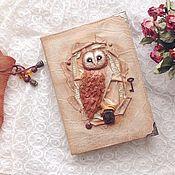 Канцелярские товары ручной работы. Ярмарка Мастеров - ручная работа Старинный блокнот с совой. Handmade.