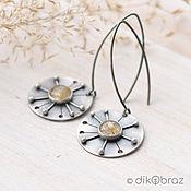 Украшения handmade. Livemaster - original item Dandelion earrings (925 silver, quartz with rutile). Handmade.