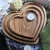 """Тарелки ручной работы. Ярмарка Мастеров - ручная работа Набор дубовых тарелок """"Сердце в кубе"""". Handmade."""