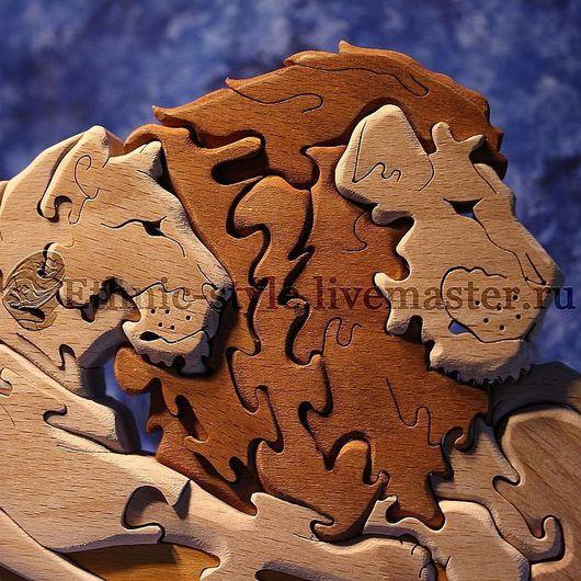 Статуэтки ручной работы. Ярмарка Мастеров - ручная работа. Купить Лев и львица (статуэтка-пазл). Handmade. Коричневый, ручная работа
