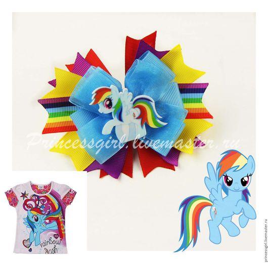"""Детская бижутерия ручной работы. Ярмарка Мастеров - ручная работа. Купить Бантик для девочки """"Радуга"""". Handmade. Rainbow dash"""