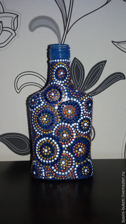 Декупаж и роспись ручной работы. Ярмарка Мастеров - ручная работа. Купить Бутылка из стекла. Handmade. Разноцветный, бутылка в подарок, стекло