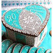 Сувениры и подарки handmade. Livemaster - original item Gingerbread box Heart turquoise. Handmade.
