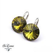 Украшения handmade. Livemaster - original item 20 shades! Silver earrings with Swarovski olive crystals. Handmade.