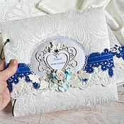"""Свадебный салон ручной работы. Ярмарка Мастеров - ручная работа Свадебная книга пожеланий """"Blue dreams"""". Handmade."""