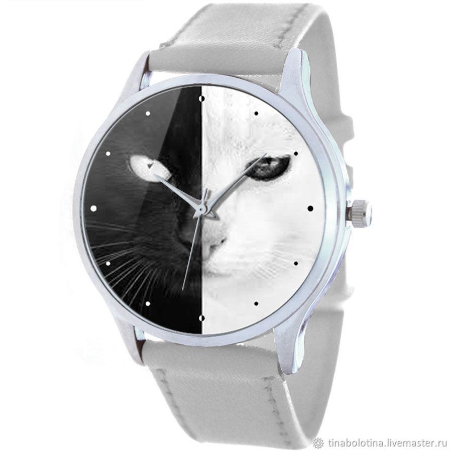 Дизайнерские наручные часы Черная кошка, белый кот – купить на Ярмарке Мастеров – MX3PRU | Часы наручные, Москва