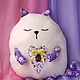 Детская ручной работы. Подушка-игрушка сердечный кот  подушка –обнимашка.. Ga-Lina (Bunina). Ярмарка Мастеров. Подушка-игрушка