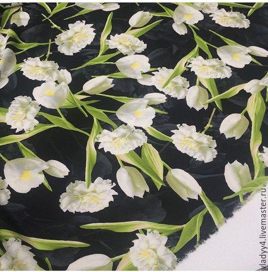 Шитье ручной работы. Ярмарка Мастеров - ручная работа. Купить Креп плательный белые тюльпаны. Handmade. Черный, тюльпан