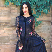 Одежда handmade. Livemaster - original item Elegant guipure dress with hand-embroidered