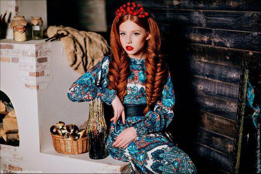 Платье в Русском стиле , платье из платков, стиль А-ля Русс. Ручная работа. Эксклюзив. Russian Style