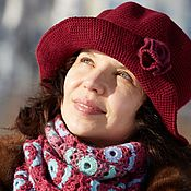 handmade. Livemaster - original item Women`s hat elegant warm hat with large brim wine Bordeaux. Handmade.