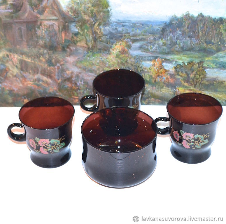 Set of vase and three cups of the USSR ruby glass, Vintage mugs, Rostov-on-Don,  Фото №1