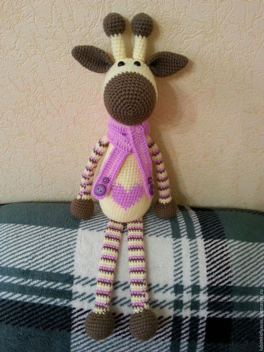 Игрушки животные, ручной работы. Ярмарка Мастеров - ручная работа. Купить Вязаная игрушка Жираф. Handmade. Жираф, сердце