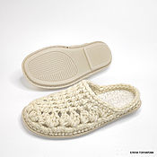 Обувь ручной работы handmade. Livemaster - original item Openwork flip-flops, p. .39, white half-wool. Handmade.