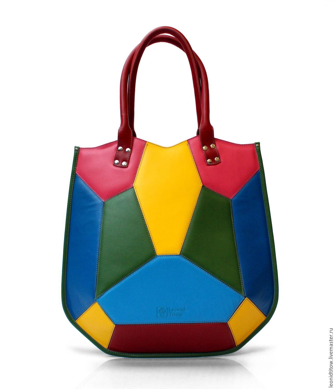 Women's Colorful Leather Handbag, Classic Bag, St. Petersburg,  Фото №1