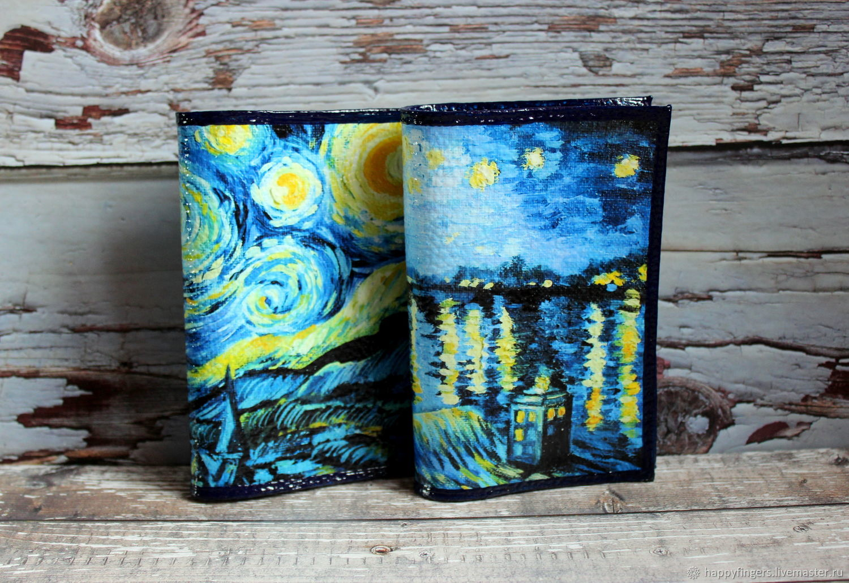 Leather passport cover van Gogh starry night oil painting, Passport cover, Elektrostal,  Фото №1
