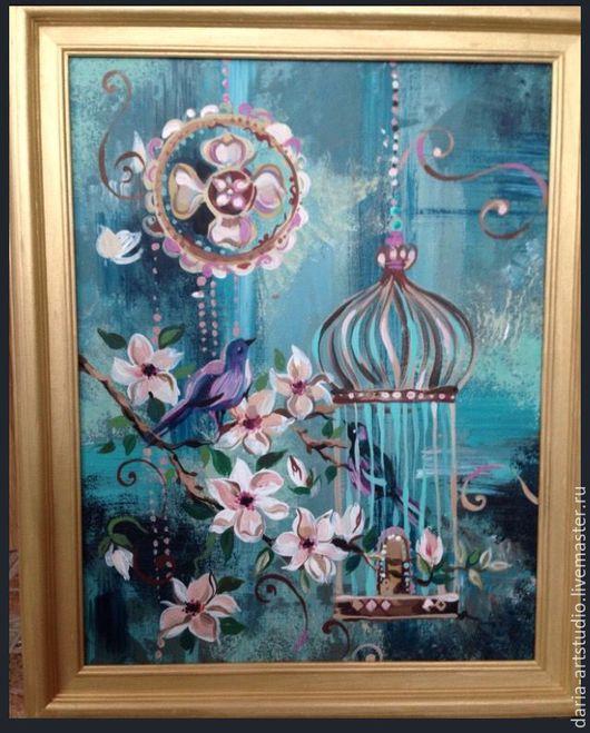 Фантазийные сюжеты ручной работы. Ярмарка Мастеров - ручная работа. Купить Райский сад. Handmade. Тёмно-синий, райский сад