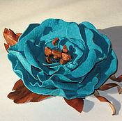 Украшения ручной работы. Ярмарка Мастеров - ручная работа Цветы из кожи. брошь- заколка. Handmade.