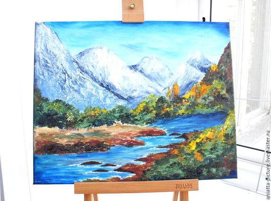 """Пейзаж ручной работы. Ярмарка Мастеров - ручная работа. Купить """"Горное озеро"""". Handmade. Синий, пейзаж с водой, горное озеро"""