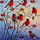 """Животные ручной работы. Ярмарка Мастеров - ручная работа. Купить Вышитая гладью картина """"Снегири"""".. Handmade. Ярко-красный, Снег"""
