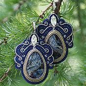 Украшения handmade. Livemaster - original item Large soutache earrings pietersite. Handmade.