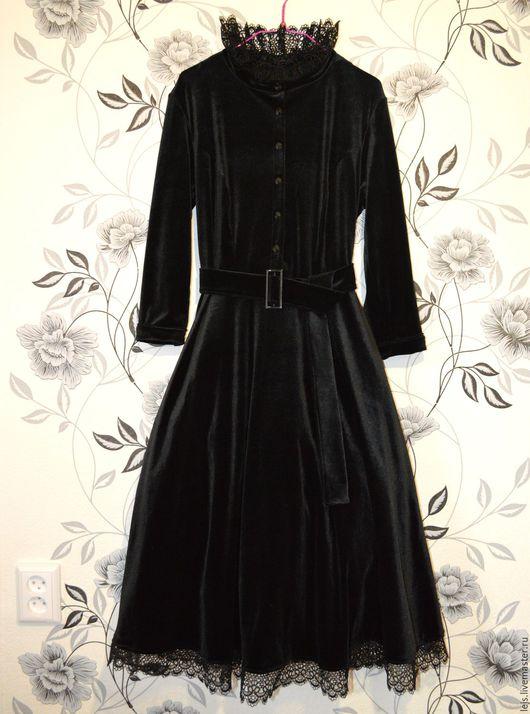 Платья ручной работы. Ярмарка Мастеров - ручная работа. Купить Бархатное черное платье. Handmade. Черный, бархатное платье